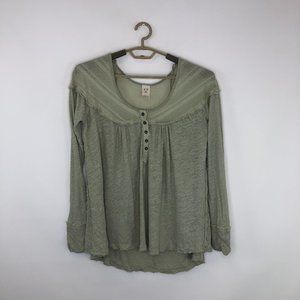 Free People Long Sleeve Henley Tee Top Size Small